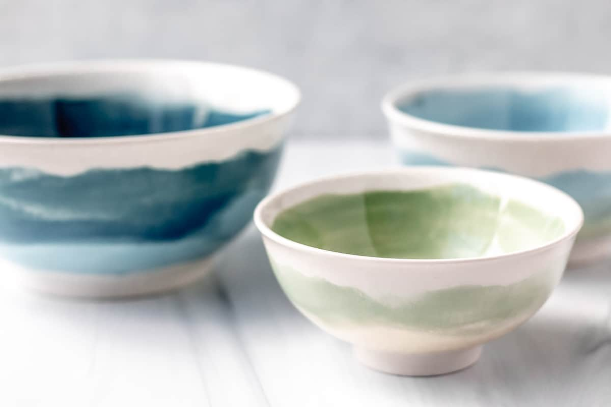 3 green and blue nesting bowls