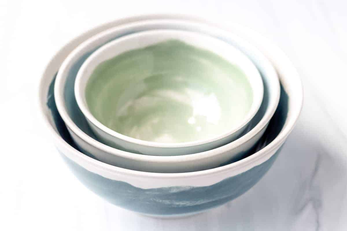 3 bowls stacked together on a white background