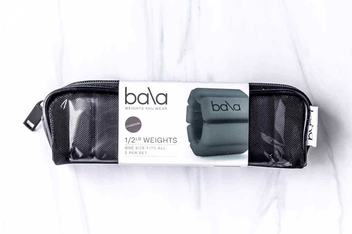 Bala 1/2 Pound Weighted Bangles in their pouch on a white background