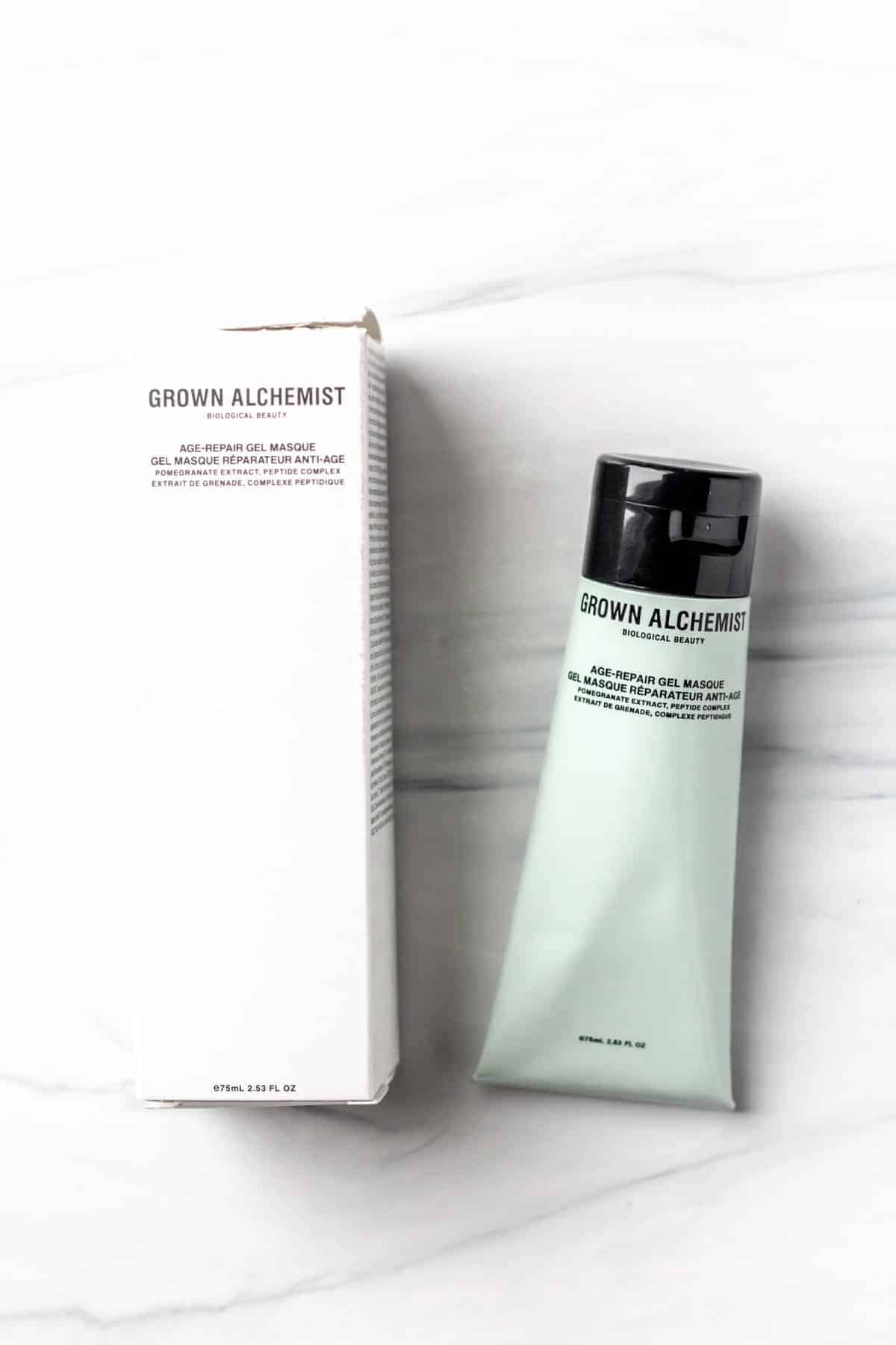 Grown Alchemist Age Repair Gel Masque tube and box on a white background
