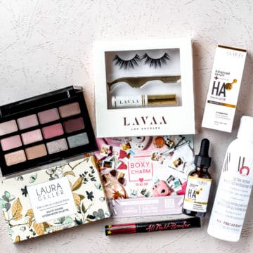 All of the items from my August 2021 boxycharm base box on a light background