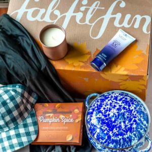 All of the items from my fall 2021 fabfutfun box displayed inside of the box