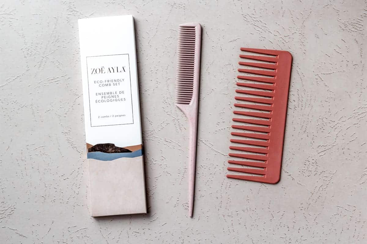 Zoë Ayla® Eco-Friendly Comb Set with the box packaging on a light background