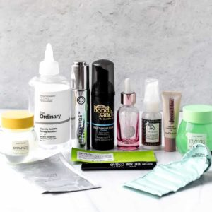 Beauty empties displayed in front of a light background