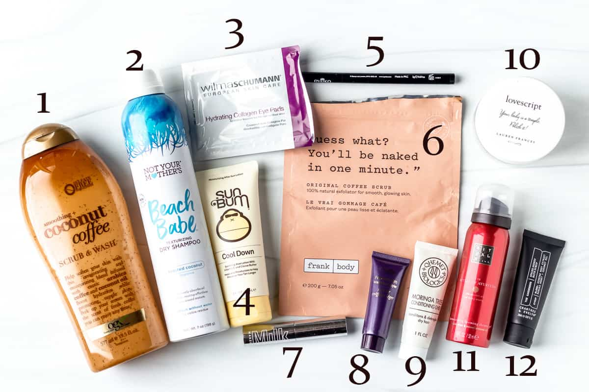 A bunch of empty beauty products from august 2021 on a white background with numbers