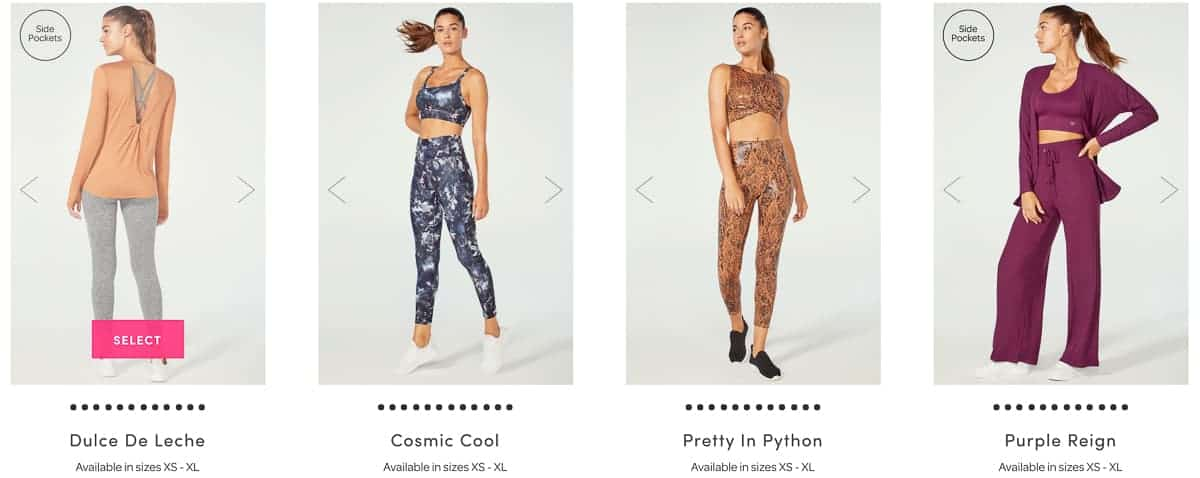 4 different outfits to choose from for the September 2021 Ellie subscription box.